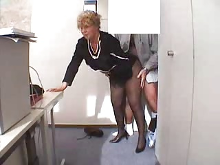 Tits office granny