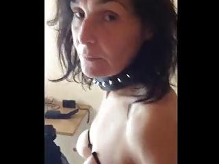 Skinny granny slave cuffed collared bound tits 3